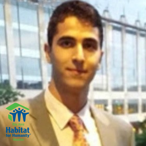 A headshot of Aslan Albarazi with the Bay Area Habitat logo in the bottom left corner.