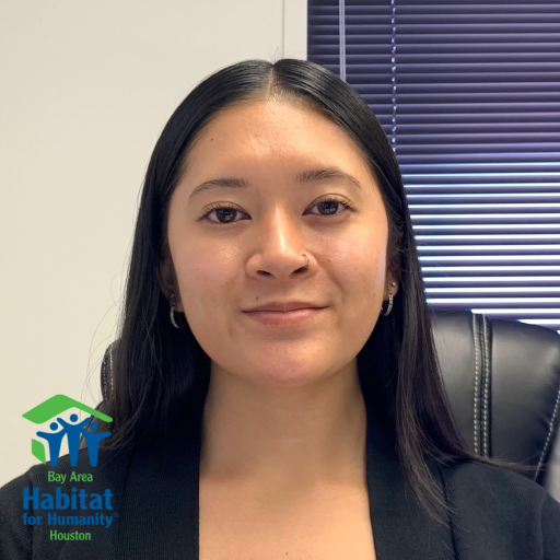 A headshot of Cassidy Huynh with the Bay Area Habitat logo in the bottom left corner.