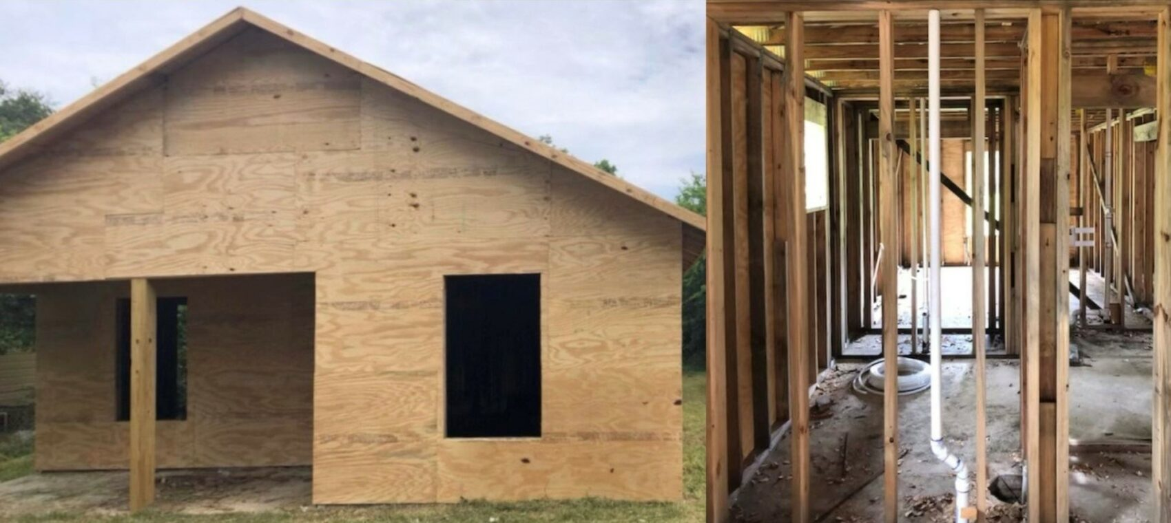 Ebony Brooks' house under construction: the exterior house frame on the left and the interior house frame on the right.