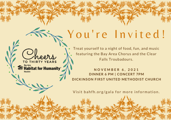 """A banner reading """"You're Invited! Treat yourself to a night of food, fun, and music featuring the Bay Area Chorus and the Clear Falls Troubadours. November 6, 2021. Dinner 6 pm 