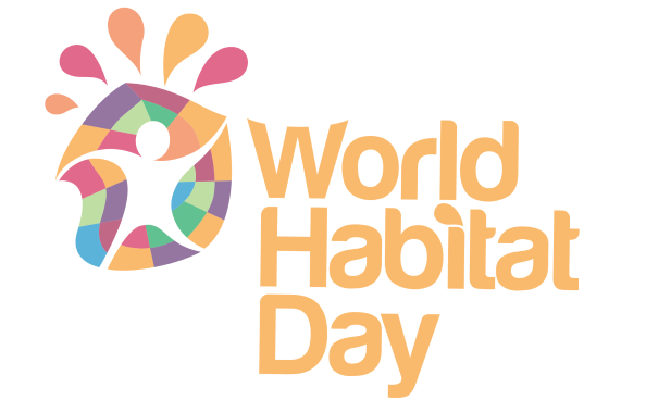 """A logo of a person dancing, with text reading """"World Habitat Day""""."""